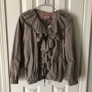 JUICY COUTURE Taupe Ruffle Front Zip Jacket Med